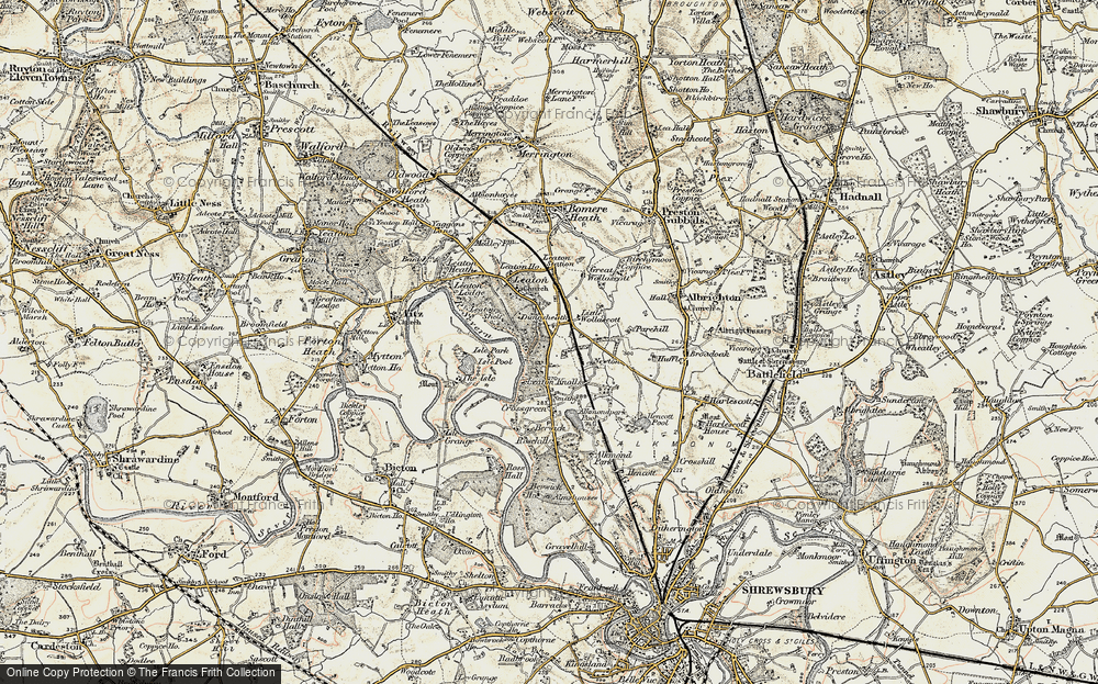 Old Map of Historic Map covering Leaton Shelf in 1902