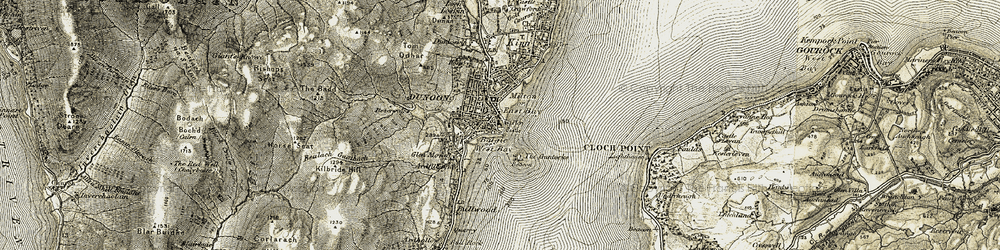 Old map of Dunoon in 1905-1907