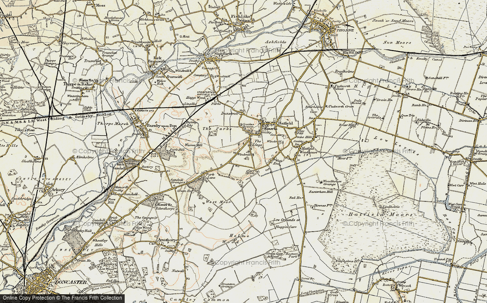 Old Map of Historic Map covering Lings Windmill in 1903