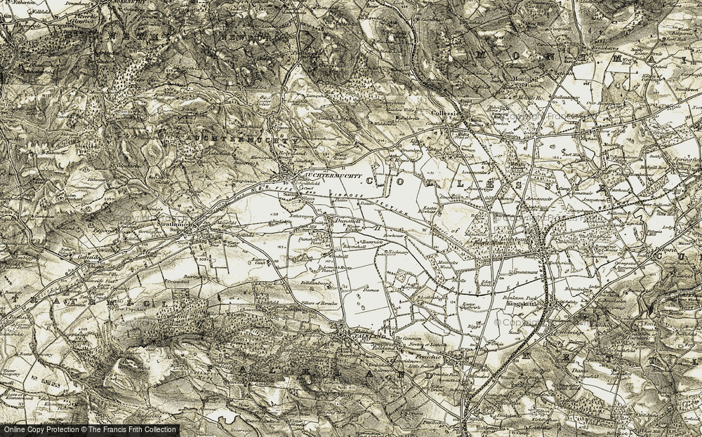 Old Map of Historic Map covering Wester Rossie in 1906-1908