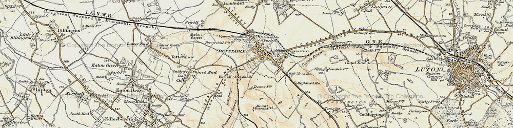 Old map of Dunstable in 1898-1899