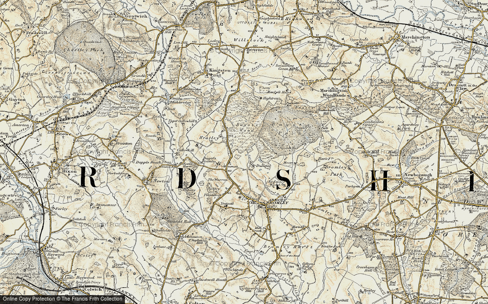 Old Map of Historic Map covering Bagot's Bromley in 1902