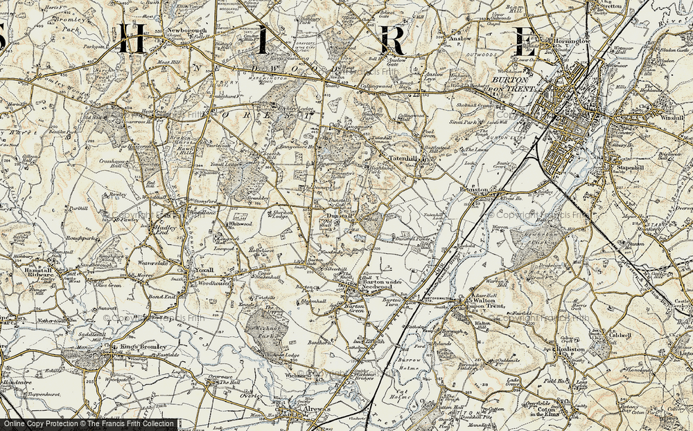 Old Map of Historic Map covering Bannister's Hollies in 1902