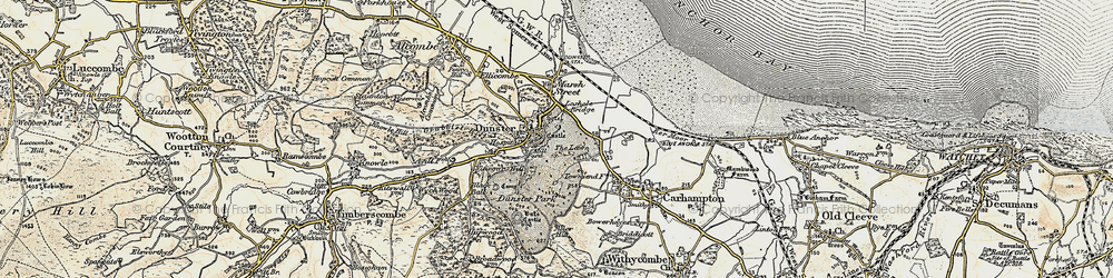 Old map of Dunster in 1898-1900