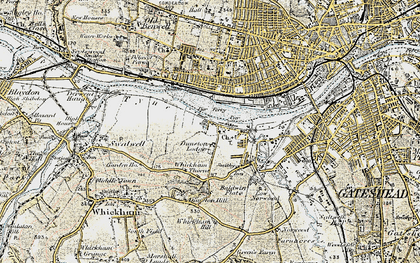 Old map of Dunston in 1901-1904