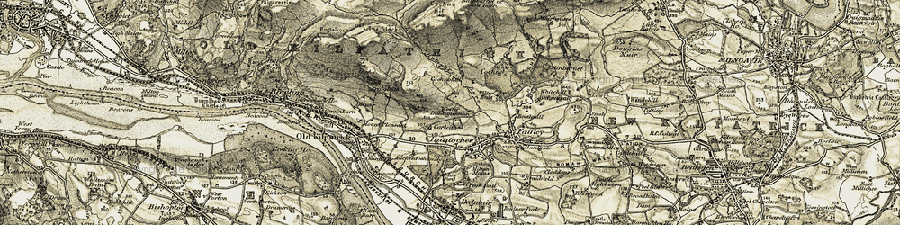 Old map of Wester Cochno in 1905-1906