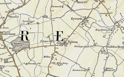 Old map of Dunton in 1898-1901