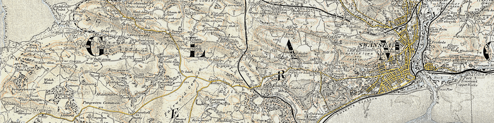 Old map of Dunvant in 1900-1901