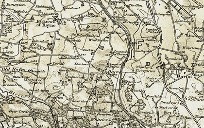 Old map of Whiteinches in 1909-1910
