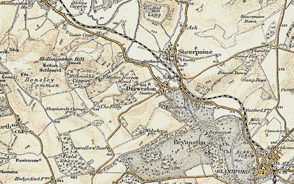 Old map of Durweston in 1897-1909