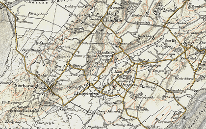 Old map of Dwyran in 1903-1910