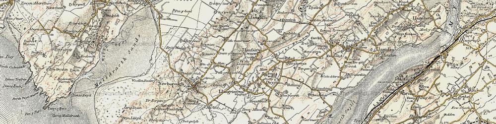 Old map of Dwyran in 1903-1910