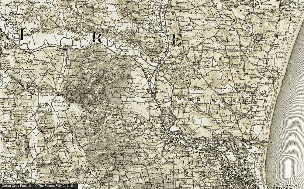 Old Map of Historic Map covering Aberdeen Airport in 1909