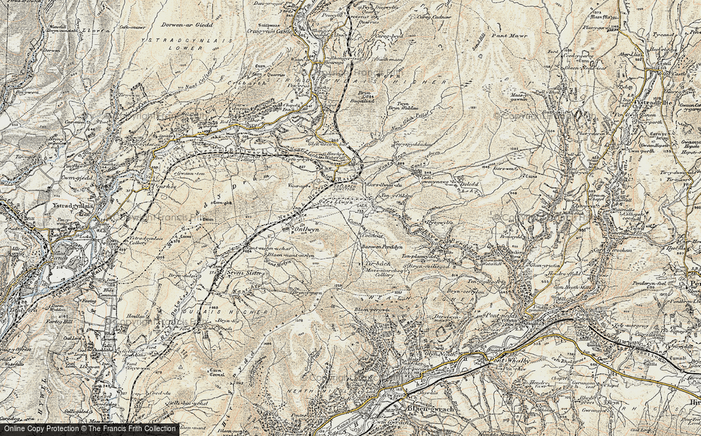 Old Map of Historic Map covering Banwen Pyrddin in 1900-1901