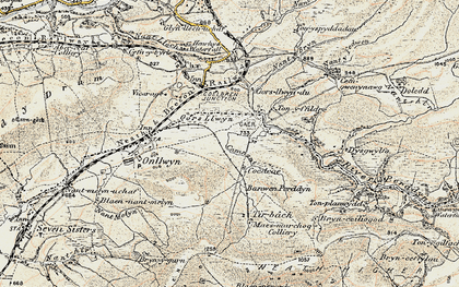 Old map of Banwen in 1900-1901