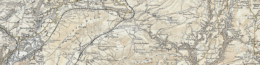 Old map of Tonyfildre in 1900-1901