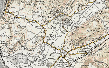 Old map of Dyffryn Dysynni in 1902-1903