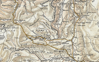Old map of Dylife in 1902-1903