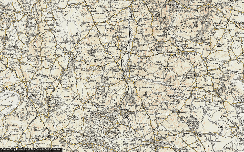 Old Map of Historic Map covering Allums in 1899-1900
