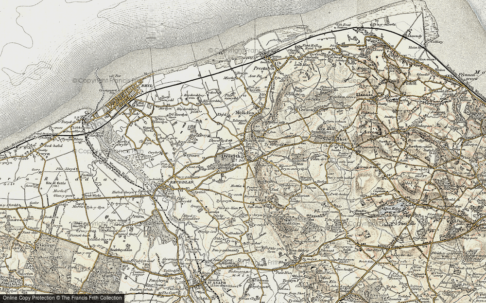 Old Map of Historic Map covering Aberkinsey in 1902-1903