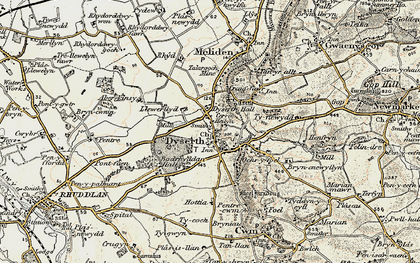 Old map of Aberkinsey in 1902-1903