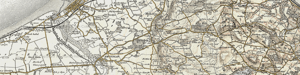 Old map of Dyserth in 1902-1903