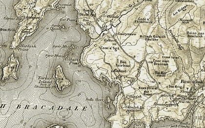 Old map of Eabost in 1908-1909