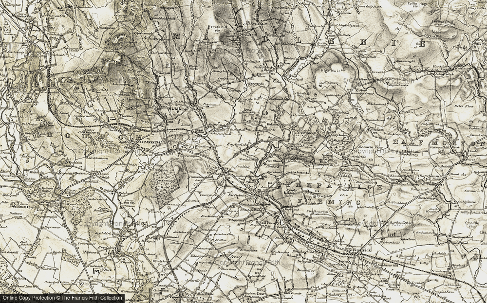 Old Map of Historic Map covering Ashyards Gate in 1901-1904
