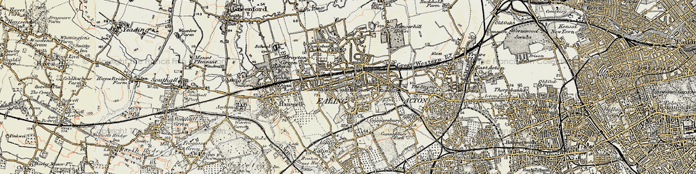 Old map of Ealing in 1897-1909