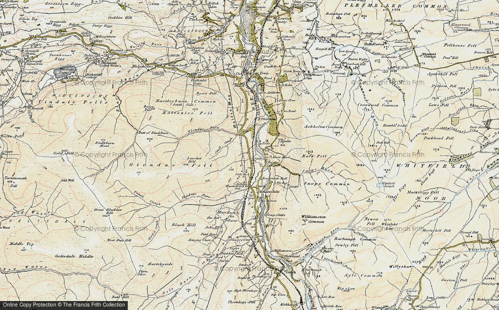 Old Map of Historic Map covering Ashholme Common in 1901-1904