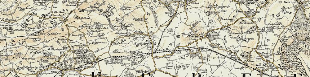 Old map of Eardisley in 1900-1901