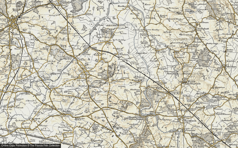 Old Map of Historic Map covering Wykeymoss in 1902