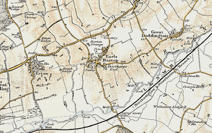 Old map of Earls Barton in 1898-1901