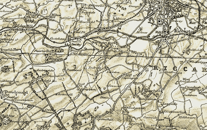 Old map of Todrigs Burn in 1905-1906