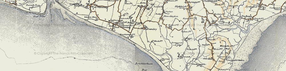 Old map of Almodington in 1897-1899