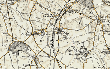 Old map of East Barsham in 1901-1902