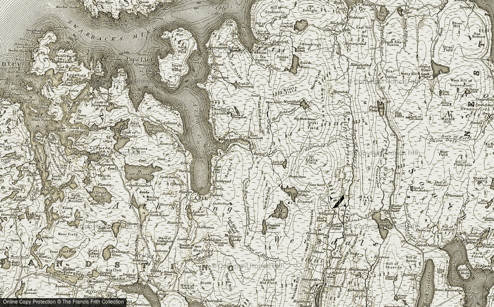 Old Map of Historic Map covering Lee of Burrafirth in 1911-1912