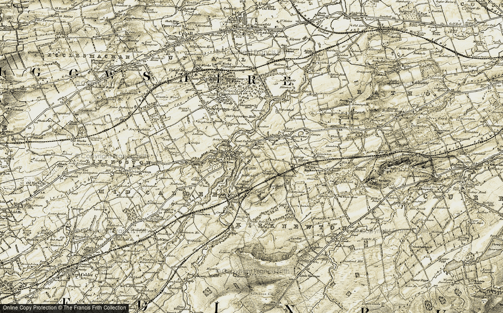 Old Map of Historic Map covering Almondell and Calder Wood Country Park in 1904