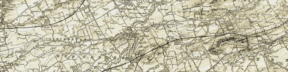 Old map of Almondell and Calder Wood Country Park in 1904