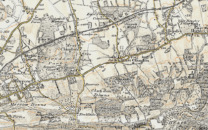 Old map of East Clandon in 1898-1909