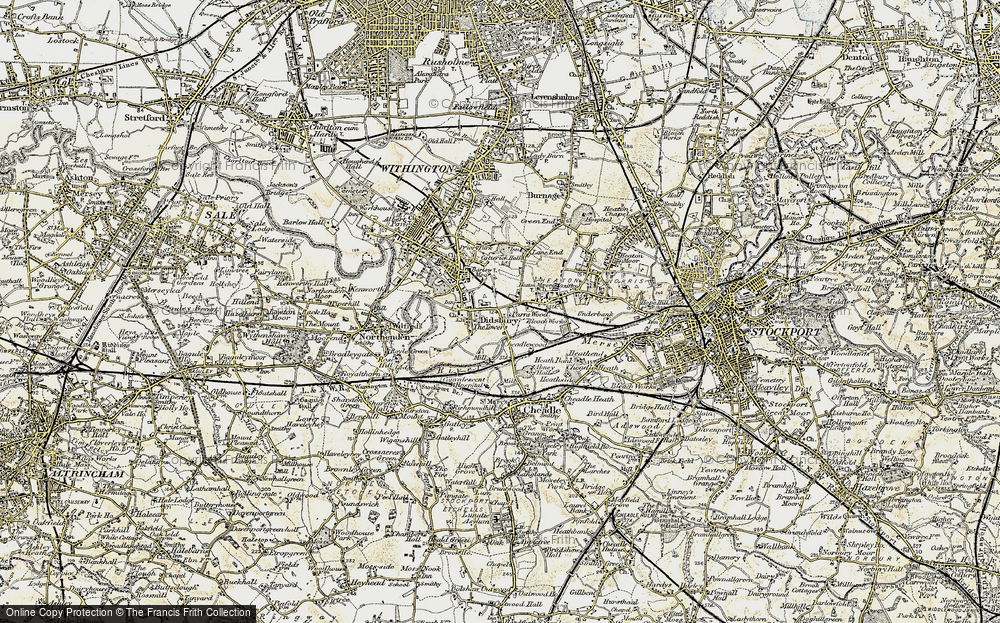 Old Map of Historic Map covering Abney Hall in 1903