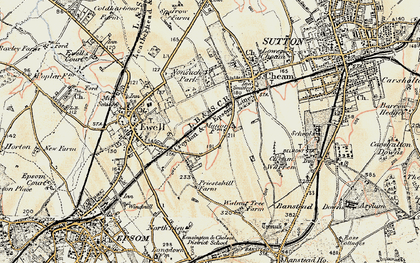 Old map of East Ewell in 1897-1909