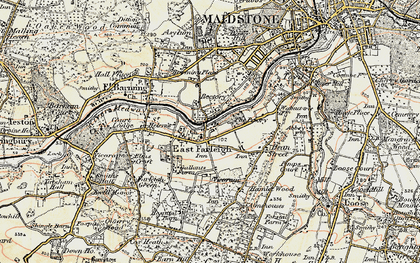 Old map of East Farleigh in 1897-1898