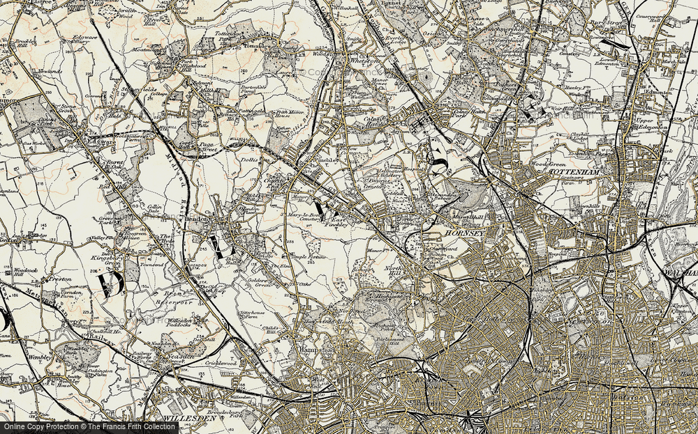 Old Map of East Finchley, 1897-1898 in 1897-1898