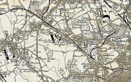 Old map of East Finchley in 1897-1898