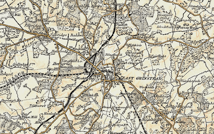 Old map of East Grinstead in 1898-1902