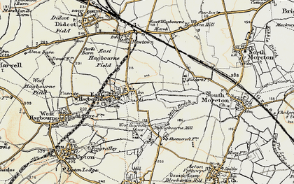 Old map of East Hagbourne in 1897-1898