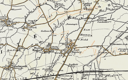 Old map of East Hanney in 1897-1899