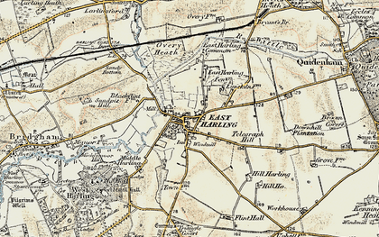 Old map of East Harling in 1901