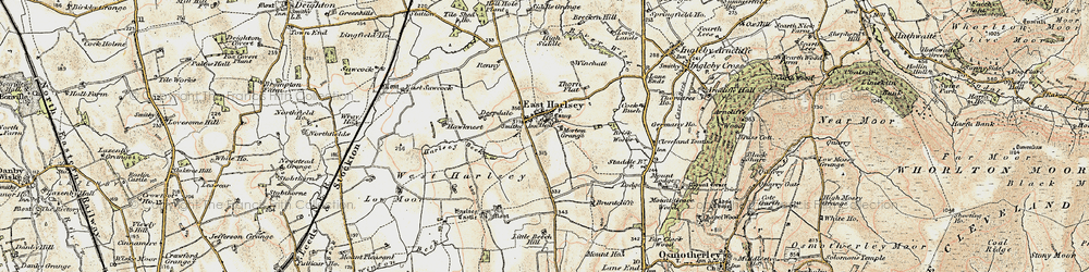 Old map of East Harlsey in 1903-1904